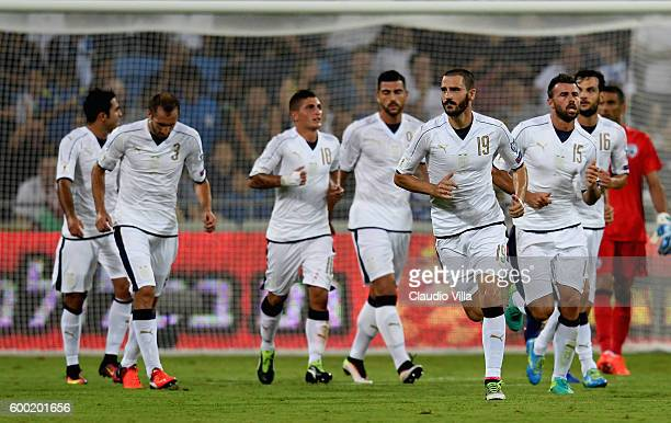 Leonardo Bonucci of Italy looks on during the FIFA 2018 World Cup Qualifier between Israel and Italy at Itztadion Sammy Ofer on September 5 2016 in...