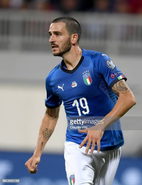 Leonardo Bonucci of Italy looks on during the FIFA 2018 World Cup Qualifier between Albania and Italy at Loro Borici Stadium on October 9 2017 in...