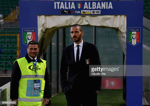 Leonardo Bonucci of Italy looks on during the Italy pitch inspetcion at Stadio Renzo Barbera on March 23 2017 in Palermo Italy