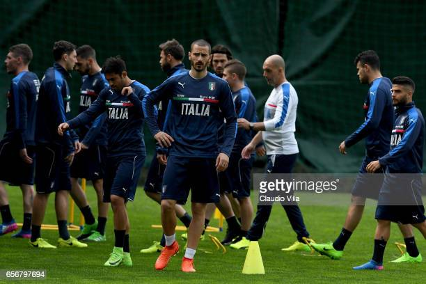 Leonardo Bonucci of Italy looks on during the training session at the club's training ground at Coverciano on March 23 2017 in Florence Italy