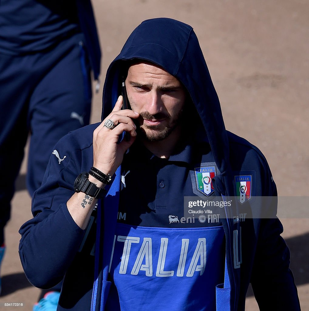 Leonardo Bonucci of Italy looks on prior to the Italy training session at the club's training ground at Coverciano on May 25, 2016 in Florence, Italy.