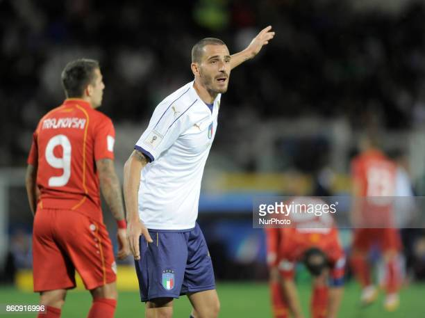 Leonardo Bonucci of Italy player and Aleksandar Trajkovski of Macedonia player during the match valid for the Qualifying Round of Fifa World Cup...