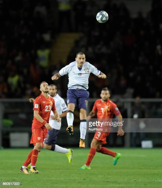 Leonardo Bonucci of Italy player Ilija Nestorovski of Macedonia player and Ivan Trickovski of Macedonia player during the match valid for the...