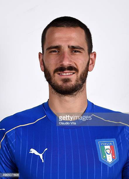 Leonardo Bonucci of Italy poses during the official portrait session at Coverciano on November 10 2015 in Florence Italy