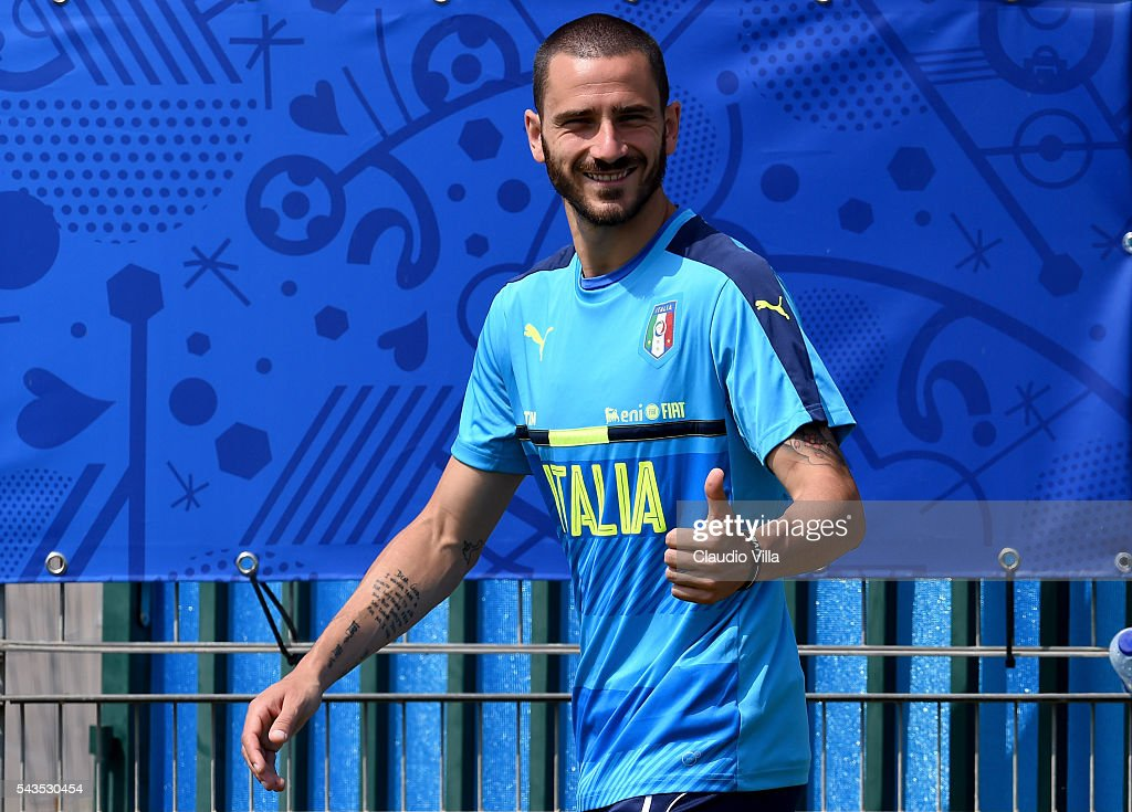 <a gi-track='captionPersonalityLinkClicked' href=/galleries/search?phrase=Leonardo+Bonucci&family=editorial&specificpeople=6166090 ng-click='$event.stopPropagation()'>Leonardo Bonucci</a> of Italy prior to the training session at 'Bernard Gasset' Training Center on June 29, 2016 in Montpellier, France.