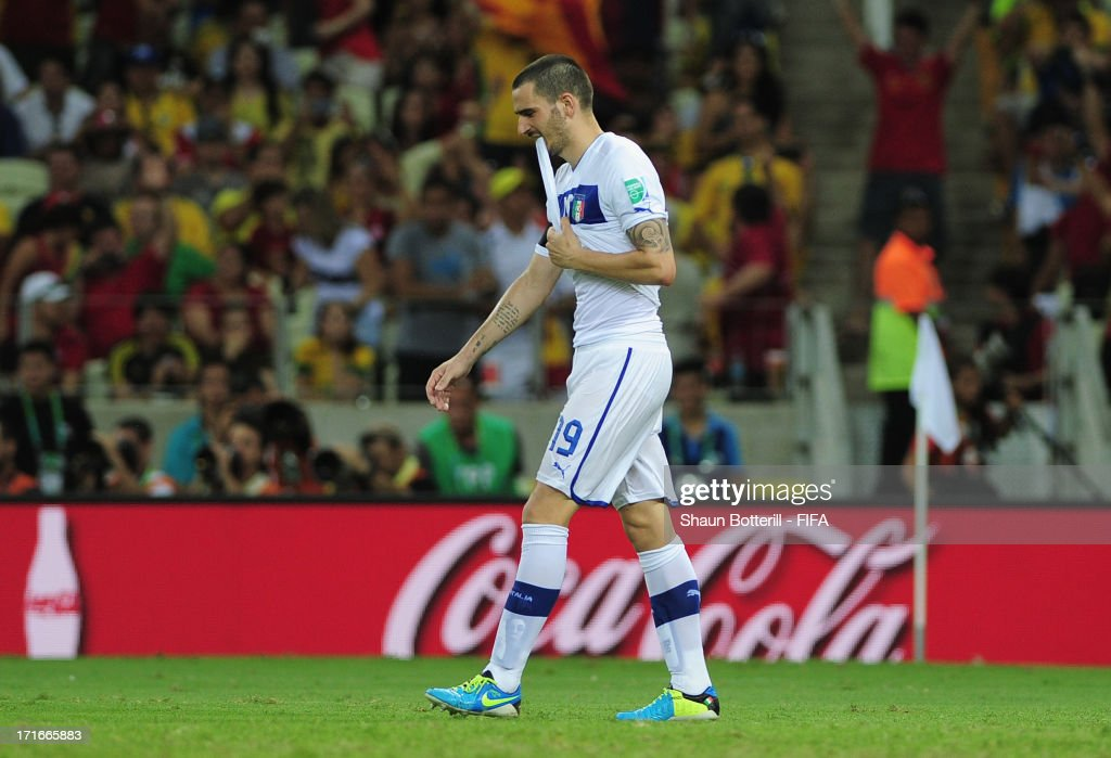 <a gi-track='captionPersonalityLinkClicked' href=/galleries/search?phrase=Leonardo+Bonucci&family=editorial&specificpeople=6166090 ng-click='$event.stopPropagation()'>Leonardo Bonucci</a> of Italy reacts after missing a penalty in a shootout during the FIFA Confederations Cup Brazil 2013 Semi Final match between Spain and Italy at Castelao on June 27, 2013 in Fortaleza, Brazil.