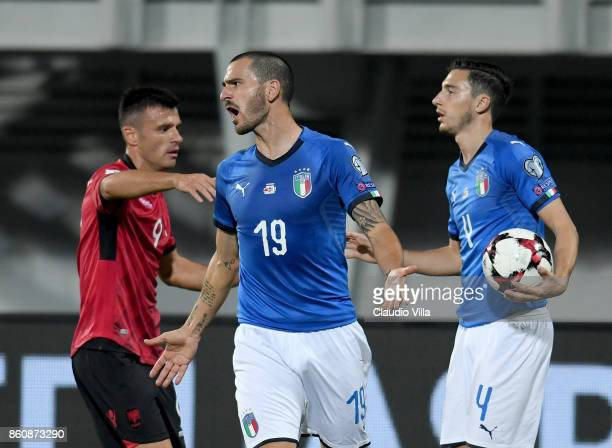 Leonardo Bonucci of Italy reatcs during the FIFA 2018 World Cup Qualifier between Albania and Italy at Loro Borici Stadium on October 9 2017 in...