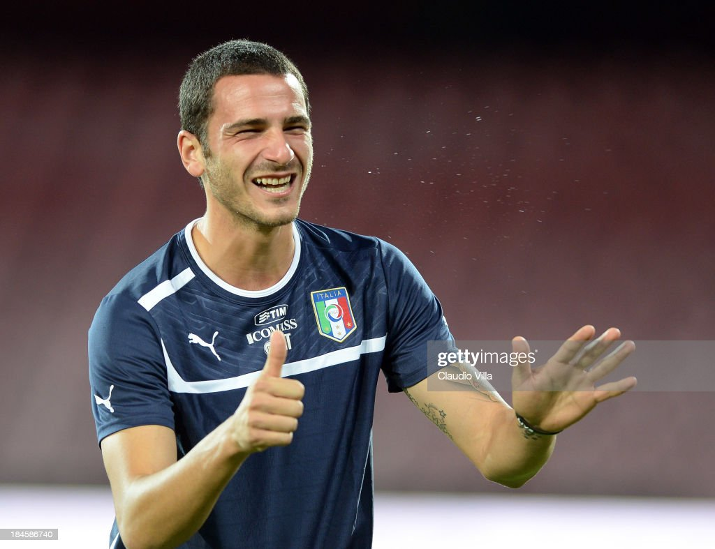 Leonardo Bonucci of Italy smiles during a training session on October 14, 2013 in Naples, Italy.