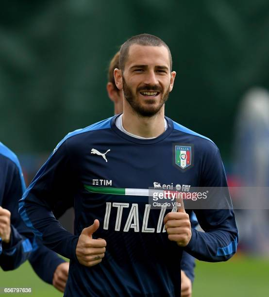 Leonardo Bonucci of Italy smiles during the training session at the club's training ground at Coverciano on March 23 2017 in Florence Italy