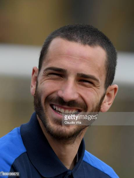 Leonardo Bonucci of Italy smiles prior to the training session at the club's training ground at Coverciano on March 22 2017 in Florence Italy