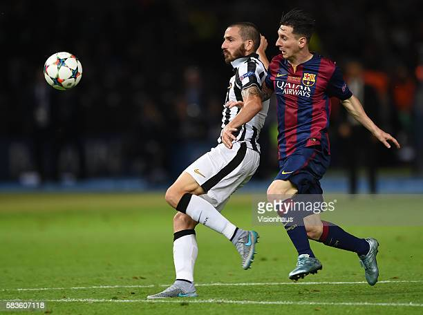 Leonardo Bonucci of Juventus and Lionel Messi of Barcelona during the UEFA Champions League Final between Barcelona and Juventus at the Olympic...