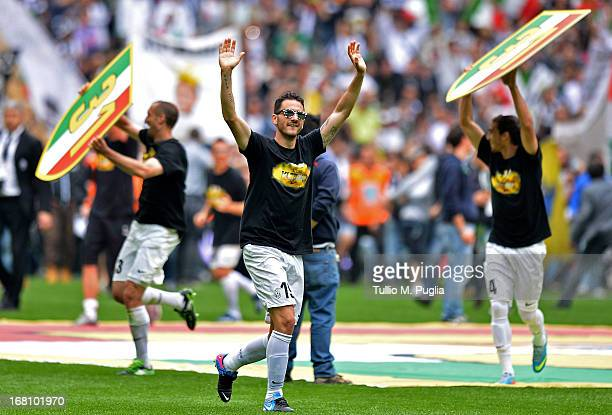 Leonardo Bonucci of Juventus celebrate after winning the Serie A Championship at the end of the Serie A match between Juventus and US Citta di...