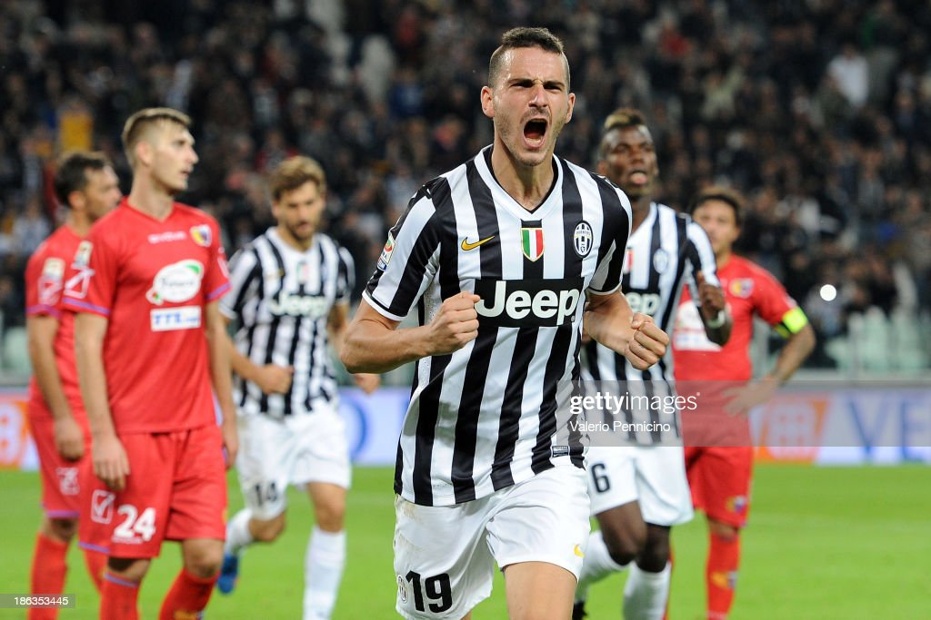 <a gi-track='captionPersonalityLinkClicked' href=/galleries/search?phrase=Leonardo+Bonucci&family=editorial&specificpeople=6166090 ng-click='$event.stopPropagation()'>Leonardo Bonucci</a> of Juventus celebrates a goal during the Serie A match between Juventus and Catania Calcio at Juventus Arena on October 30, 2013 in Turin, Italy.