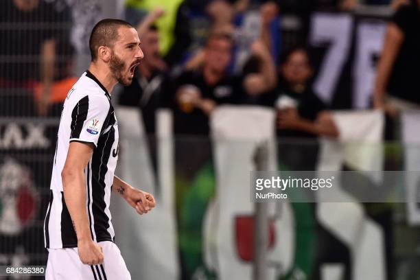 Leonardo Bonucci of Juventus celebrates scoring second goal during the Italian Tim Cup 2017 match between Juventus and Lazio at Stadio Olimpico in...