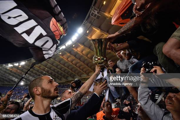 Leonardo Bonucci of Juventus celebrates the victory after the TIM Cup final football match against SS Lazio at Stadio Olimpico on May 172017 in Rome...