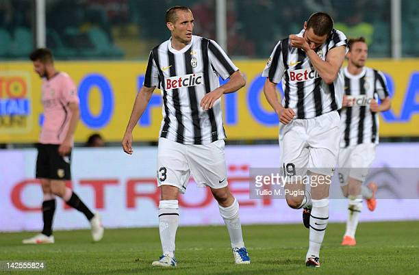 Leonardo Bonucci of Juventus celebrates with teammate Giorgio Chiellini after scoring the opening goal during the Serie A match between US Citta di...