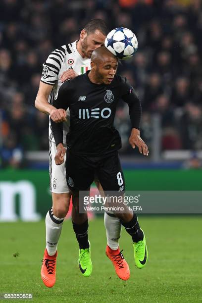 Leonardo Bonucci of Juventus clashes with Brahimi of FC Porto during the UEFA Champions League Round of 16 second leg match between Juventus and FC...