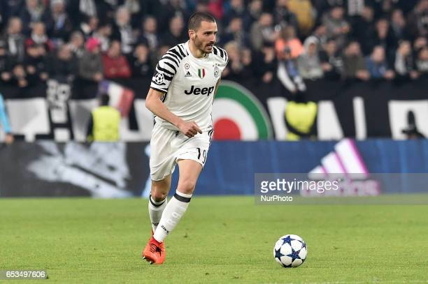Leonardo Bonucci of Juventus during the UEFA Champions League Round of 16 game 2 match between Juventus and Porto at the Juventus Stadium Turin Italy...