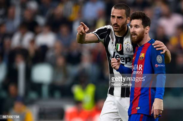 Leonardo Bonucci of Juventus FC and Lionel Messi of FC Barcelona speak during the UEFA Champions League football match between Juventus FC and FC...