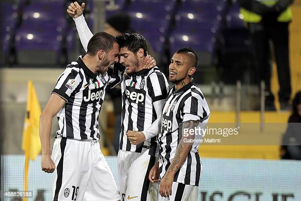 Leonardo Bonucci of Juventus FC celebrates after scoring a goal during the TIM cup match between ACF Fiorentina and Juventus FC at Artemio Franchi on...