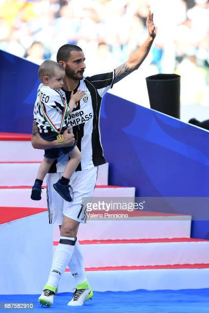 Leonardo Bonucci of Juventus FC celebrates after the beating FC Crotone 30 to win the Serie A Championships at the end of the Serie A match between...