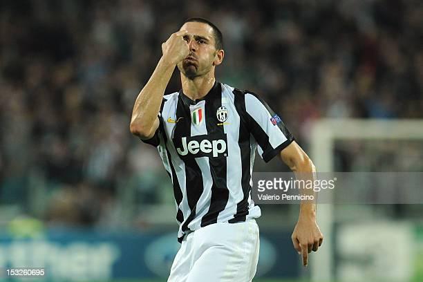Leonardo Bonucci of Juventus FC celebrates the goal during the UEFA Champions League Group E match between Juventus FC and Shakhtar Donetsk at...