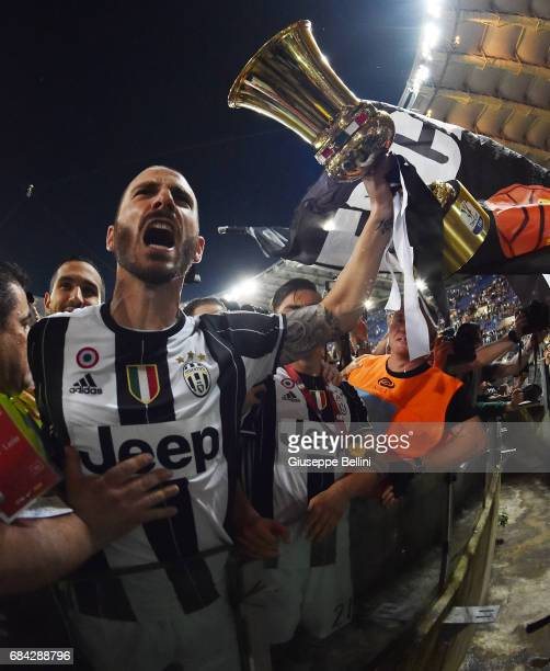Leonardo Bonucci of Juventus FC celebrates the victory after the TIM Cup Final match between SS Lazio and Juventus FC at Olimpico Stadium on May 17...