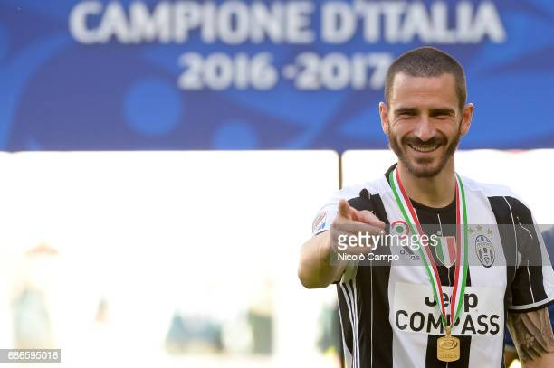 Leonardo Bonucci of Juventus FC celebrates the victory of the Italian Serie A 'Scudetto' at the end of the Serie A football match between Juventus FC...