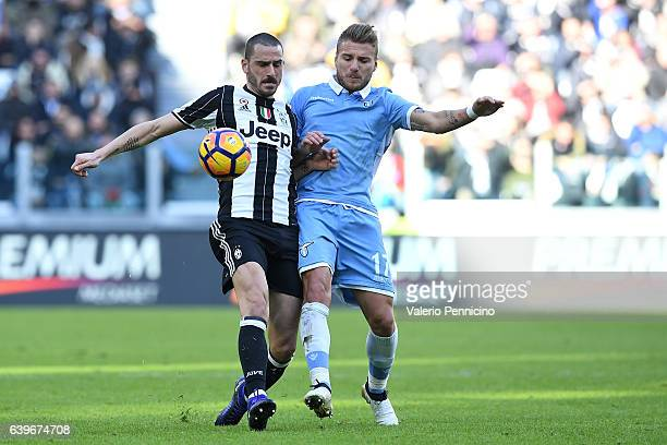 Leonardo Bonucci of Juventus FC competes with Ciro Immobile of SS Lazio during the Serie A match between Juventus FC and SS Lazio at Juventus Stadium...