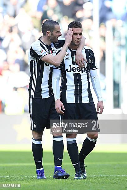 Leonardo Bonucci of Juventus FC consoles his team mate Marko Pjaca at the end of the Serie A match between Juventus FC and SS Lazio at Juventus...