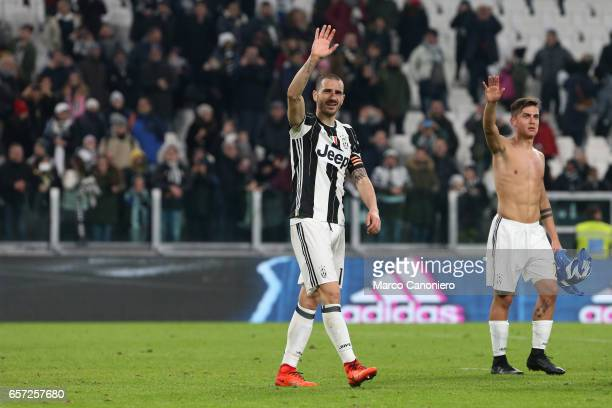 Leonardo Bonucci of Juventus FC greets the fans at the end of the Serie A match between Juventus FC and Empoli FC at Juventus Stadium Juventus FC...