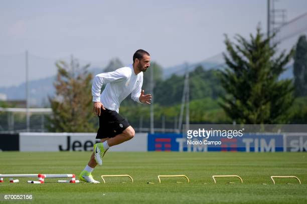 Leonardo Bonucci of Juventus FC in action during a training session on the eve of the UEFA Champions League football match between FC Barcelona and...