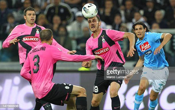 Leonardo Bonucci of Juventus FC in action during the Serie A match between Juventus FC and SSC Napoli at Juventus Arena on April 1 2012 in Turin Italy
