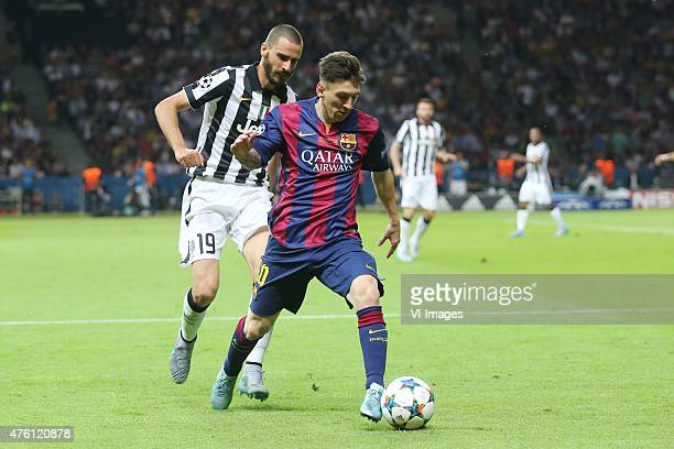 Leonardo Bonucci of Juventus FC Lionel Messi of FC Barcelona during the UEFA Champions League final match between Barcelona and Juventus on June 6...