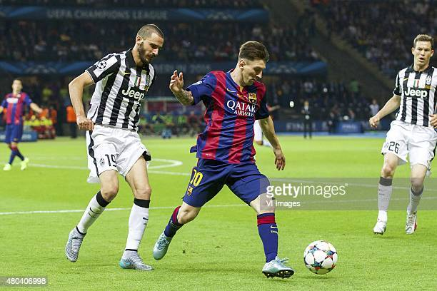Leonardo Bonucci of Juventus FC Lionel Messi of FC Barcelona Stephan Lichtsteiner of Juventus FC during the UEFA Champions League final match between...