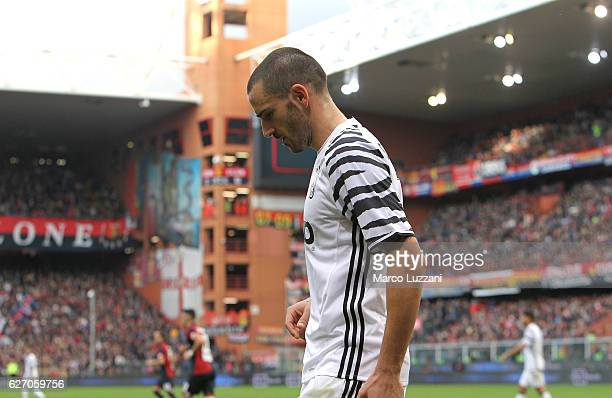 Leonardo Bonucci of Juventus FC lsuffers an injury during the Serie A match between Genoa CFC and Juventus FC at Stadio Luigi Ferraris on November 27...