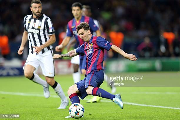 Leonardo Bonucci of Juventus FC Luis Suarez of FC Barcelona Lionel Messi of FC Barcelona during the UEFA Champions League final match between...