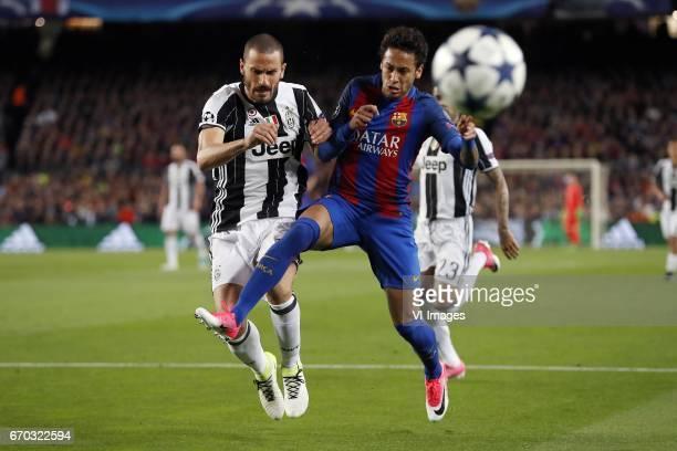 Leonardo Bonucci of Juventus FC Neymar of FC Barcelonaduring the UEFA Champions League quarter final match between FC Barcelona and Juventus FC on...