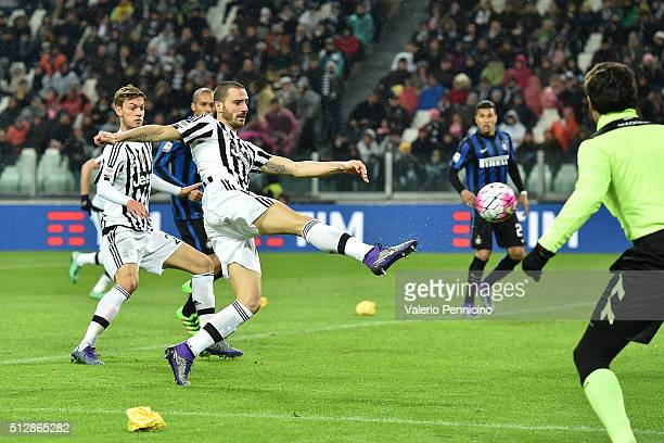 Leonardo Bonucci of Juventus FC scores the opening goal during the Serie A match between Juventus FC and FC Internazionale Milano at Juventus Arena...