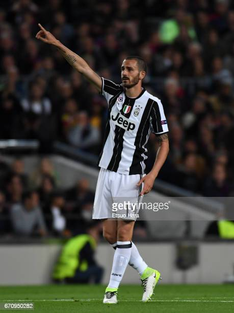 Leonardo Bonucci of Juventus in action during the UEFA Champions League Quarter Final second leg match between FC Barcelona and Juventus at Camp Nou...