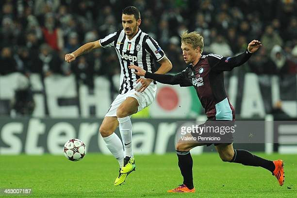 Leonardo Bonucci of Juventus is challenged by Nicolai Jorgensen of FC Copenhagen during the UEFA Champions League Group B match between Juventus and...