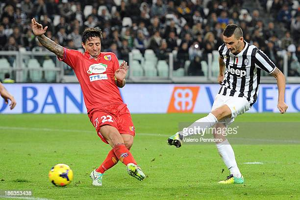Leonardo Bonucci of Juventus scores a goal during the Serie A match between Juventus and Catania Calcio at Juventus Arena on October 30 2013 in Turin...