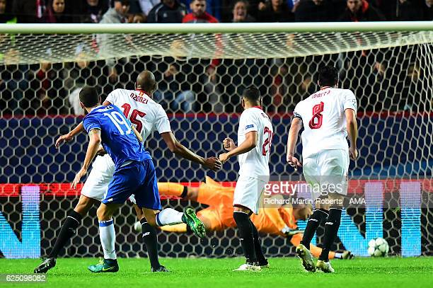 Leonardo Bonucci of Juventus scores his team's second goal during the UEFA Champions League match between Sevilla FC and Juventus at Estadio Ramon...