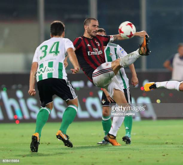 Leonardo Bonucci of Milan competes for the ball Cesarof Real Betis during the PreSeason Friendly match between AC Milan and Villareal at Stadio...