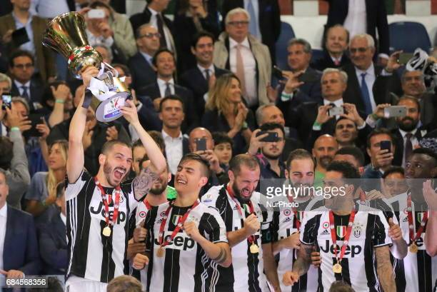 Leonardo Bonucci raises the Italian Cup after the final between Juventus FC and SS Lazio at Olympic Stadium on may 17 2017 in Rome Italy Juventus won...