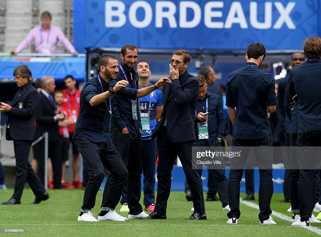 Leonardo Bonucci reacts during the Italy pitch walkabout at Stade de Bordeaux on July 1, 2016 in Bordeaux, France.