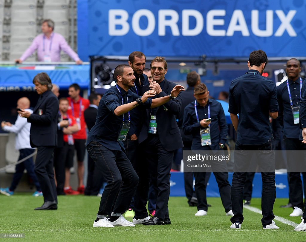 <a gi-track='captionPersonalityLinkClicked' href=/galleries/search?phrase=Leonardo+Bonucci&family=editorial&specificpeople=6166090 ng-click='$event.stopPropagation()'>Leonardo Bonucci</a> reacts during the Italy pitch walkabout at Stade de Bordeaux on July 1, 2016 in Bordeaux, France.
