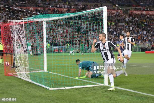 Leonardo Bonucci scores the second goal for Juventus during the Italian Cup final between Juventus FC and SS Lazio at Olympic Stadium on may 17 2017...