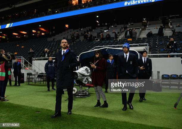 Leonardo Bonucci Simone Zaza and Federico Bernardeschi of Italy look on during Italy walk around at Friends Arena on November 9 2017 in Stockholm...
