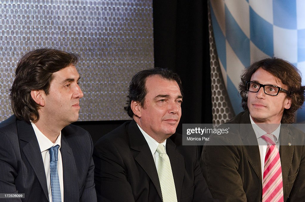 Leonardo Boto, Executive Secretary of the National Institute of Tourism Promotion, the deputy governor of the province of Santiago del Estero, Angel Hugo Nicolai and Ignacio Sagnier, Communication Manager of Dorna Sports during a press conference to present the test for the Grand Prix of Argentina 2014 MotoGP, Moto2 and Moto3 on July 2, 2013 in Buenos Aires, Argentina.